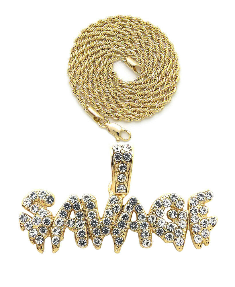 "Iced Out Drip SAVAGE Pendant & 18"" Box, Cuban, Rope Choker Chain Necklace"
