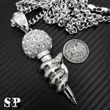 "Iced Out Silver Tone MIC Hand Pendant & 6mm 30"" Cuban Chain Hip Hop Necklace"