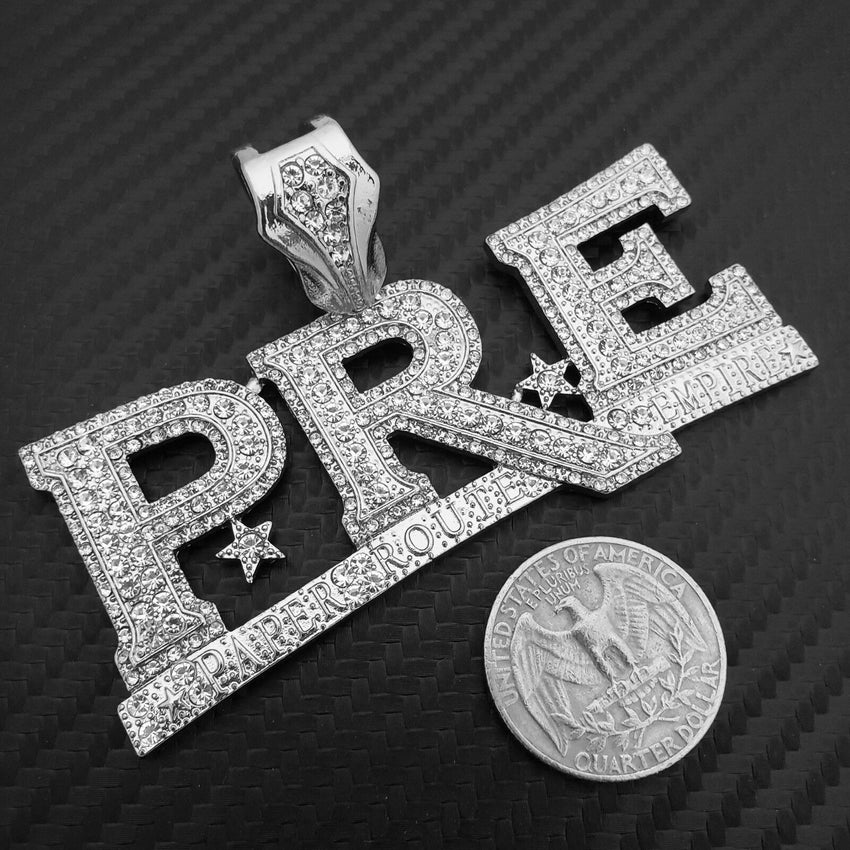 HIP HOP ICED OUT YOUNG DOLPH PRE SILVER PLATED BLING LAB DIAMOND LARGE PENDANT