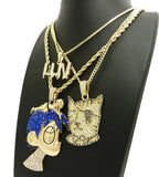 Iced Lil Uzi Vert 3 Popular Hip Hop Pendant &  Box, Rope, Cuban Necklace combo set