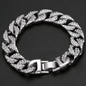 Men's Fully Iced Out Miami Cuban Bracelet White Gold Plated Mens Hip Hop 13mm 8