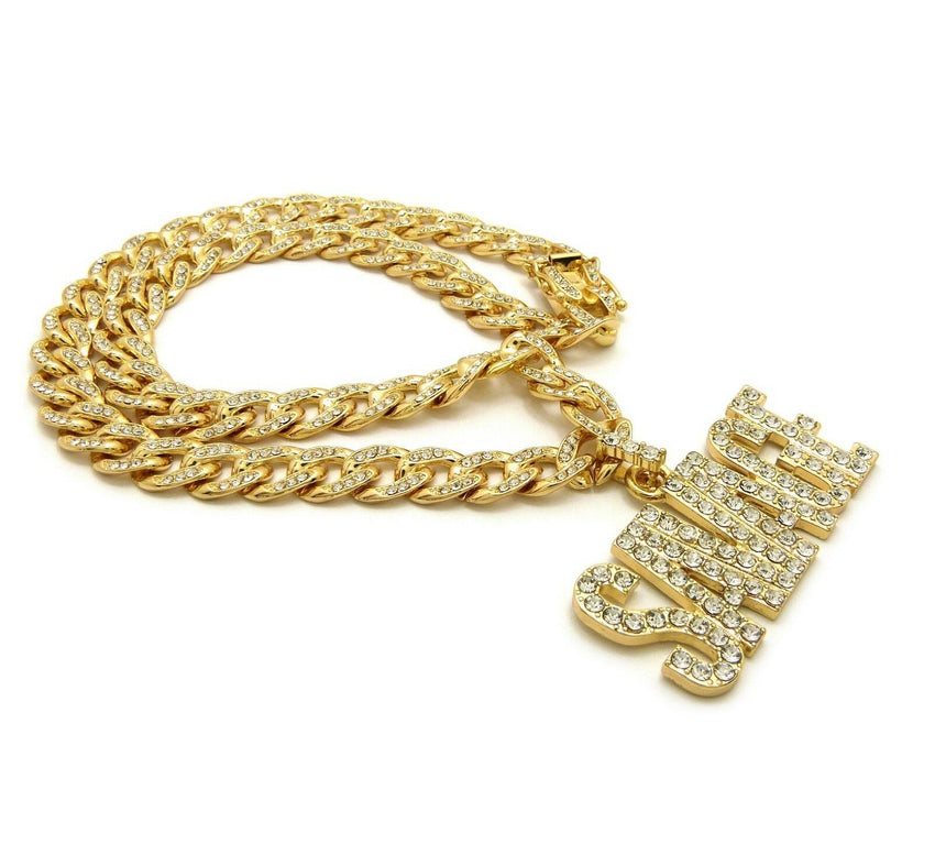 "Iced out SAVAGE Pendant & Iced Out 18"" 20"" 22"" 24"" Cuban Choker Chain Necklace"