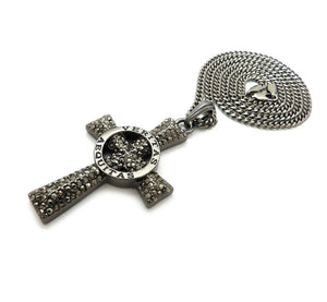 Hip Hop Hematite VERITAS AEQUITAS Cross Pendant & 3mm 24