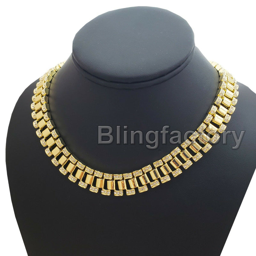 "Hip Hop Iced out Gold Tone Thunder cat & 18"" Iced Rollie Link Choker Chain Necklace"