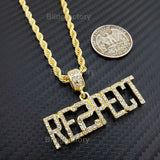 "Hip Hop Iced out Rapper's ""RESPECT"" Pendant & 4mm 24"" Rope Chain Necklace"
