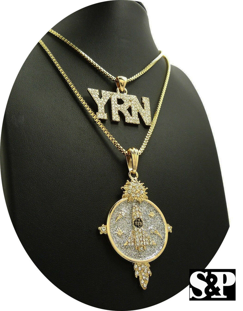 "Hip Hop Iced Out Migos YRN Rocket Pendant & 24"", 30"" Box Chain 2 Necklace Set"