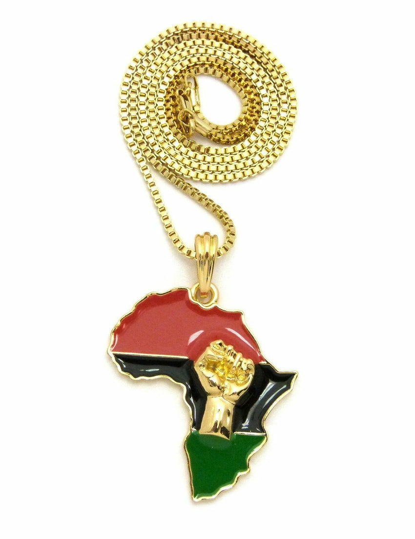 "Fist Power in Africa Map Pendant w/ 24"" Box, Cuban, Rope Chain Hip Hop Necklace"