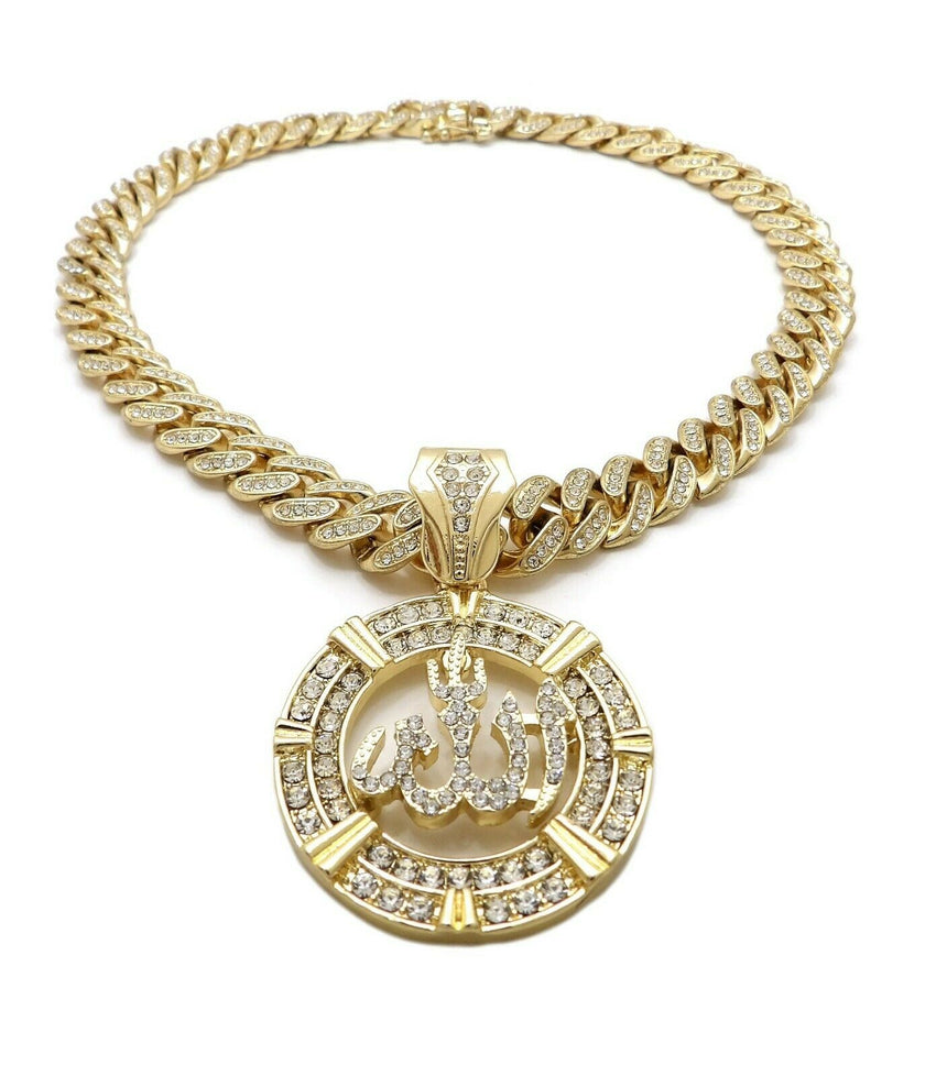 "Hip Hop Allah Pendant & 12mm 18"" Iced out Box Lock Cuban Choker Chain Necklace"