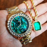 HIP HOP ICED OUT LAB DIAMOND METAL WATCH & GREEN GEMSTONE NECKLACE SET