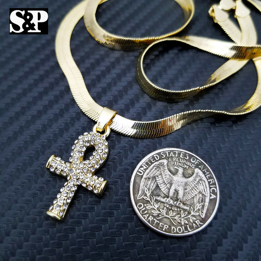"Unisex Hip Hop Iced Out Ankh Pendant w/ 5mm 20"" Herringbone Chain Necklace"