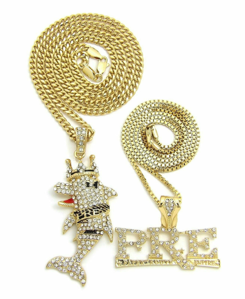"HIP HOP ICED OUT YOUNG DOLPH PRE & DOLPHIN PENDANT & 24"", 27"" CHAIN NECKLACE"