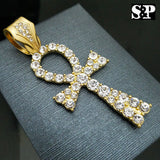 HIP HOP ICED OUT LAB DIAMOND GOLD PLATED LARGE ANKH PENDANT