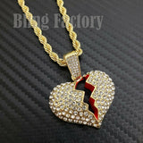 "Hip Hop Iced out Broken Heart Charm Pendant & 4mm 24"" Rope Chain Necklace"