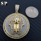 HIP HOP ICED OUT LAB DIAMOND GOLD PLATED EGYPT PHARAOH  MEDALLION PENDANT