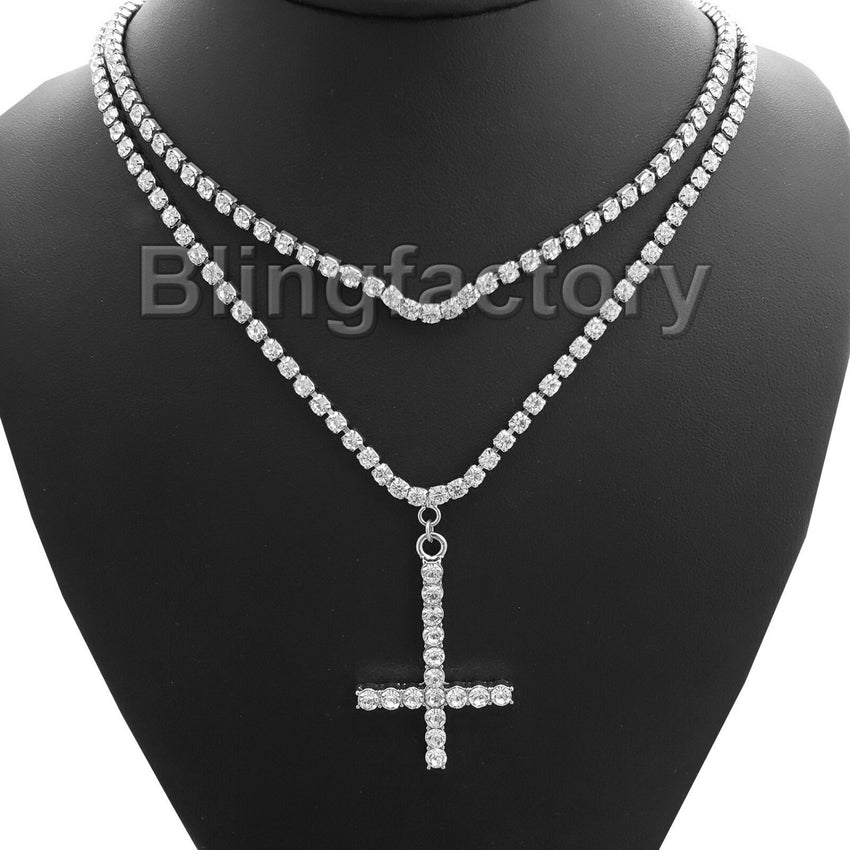 Hip Hop Iced out Uzi Cross Pendant & 1 Row Diamond Tennis Choker Chain Necklace