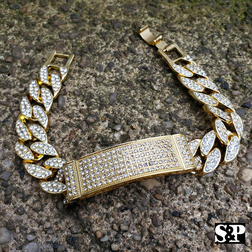 HIP HOP BLING MIGOS LAB DIAMOND FULL ICED MIAMI CUBAN CHAIN BRACELET