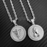 "Hip Hop Iced Out Baby Angel & Praying Hands Pendant & 24"" Rope Chain Necklace"