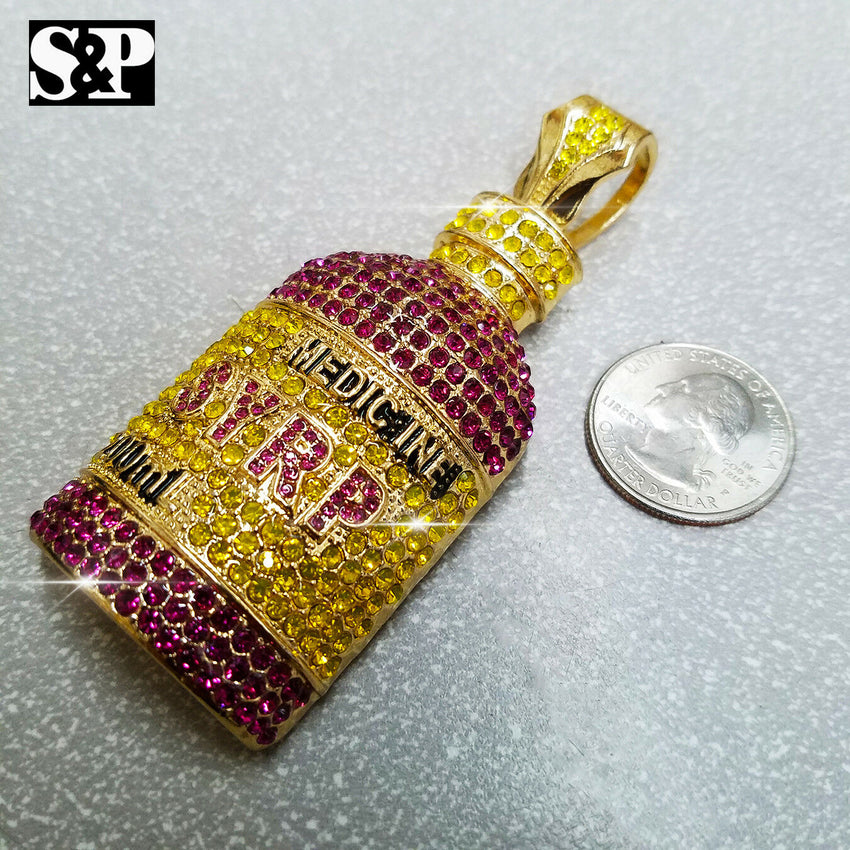 Hip Hop Rapper's Iced Out Lab Diamonds Gold plated Syrup Bottle Pendant