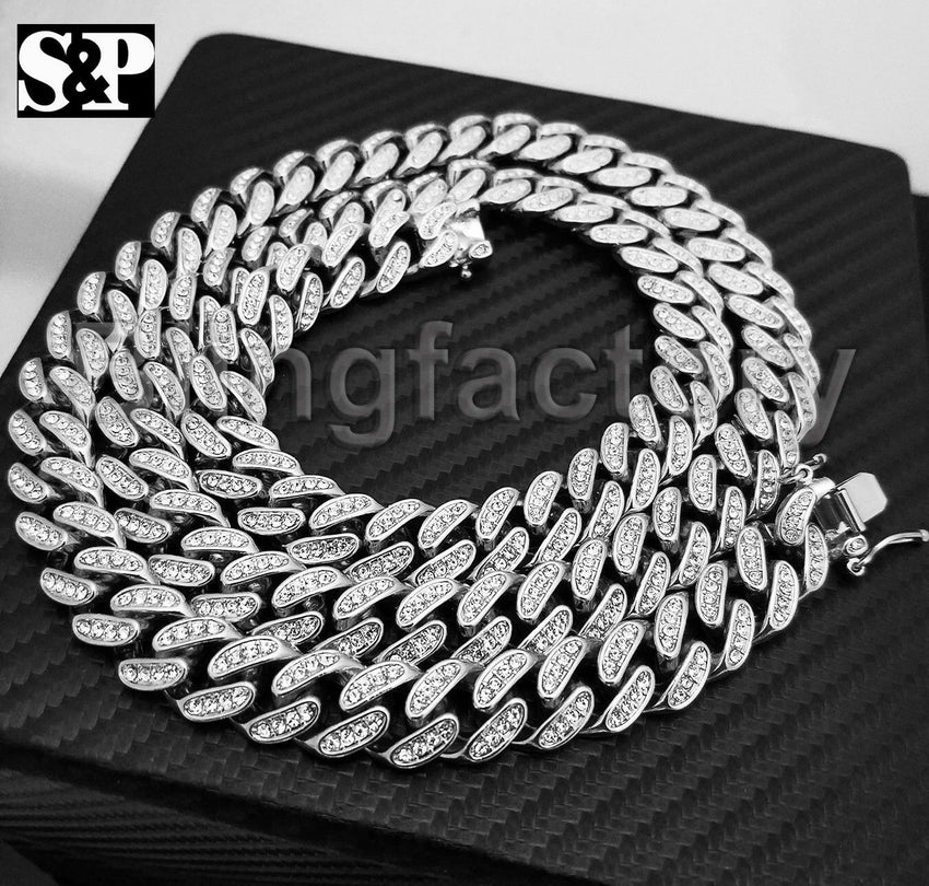 "Hip Hop Full Iced Out White Gold Plated 12mm 18"" 20"" 22"" 30"" Miami Cuban chain Necklace"