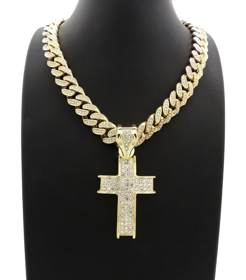 "Hip Hop Cross Pendant & 12mm 20"" Iced out Box Lock Cuban Choker Chain Necklace"