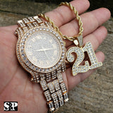 Men's Hip Hop Iced Out Bling Lab Diamond Watch & Savage 21 Necklace combo Set