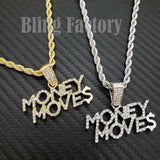 "Hip Hop Iced out Money Moves Charm Pendant & 4mm 24"" Rope Chain Necklace"