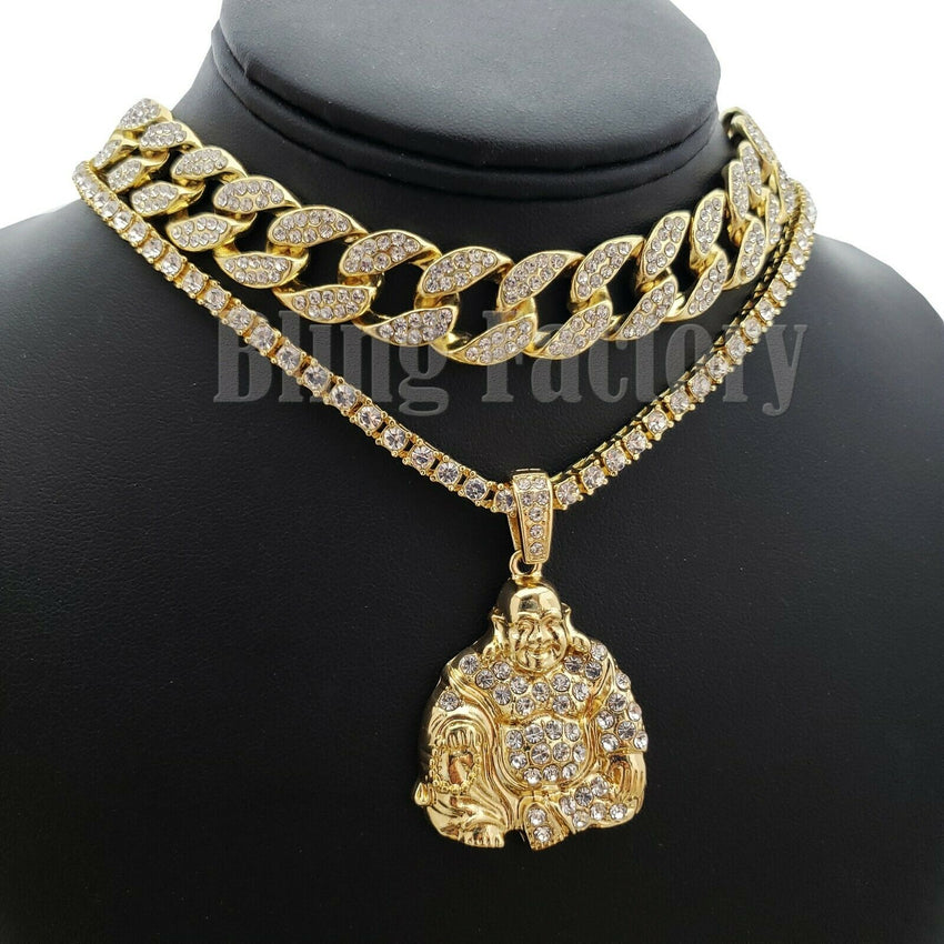 "Hip Hop Happy Buddha Pendant & 18"" Full Iced Cuban & 1 ROW Tennis Choker Chain Necklace set"