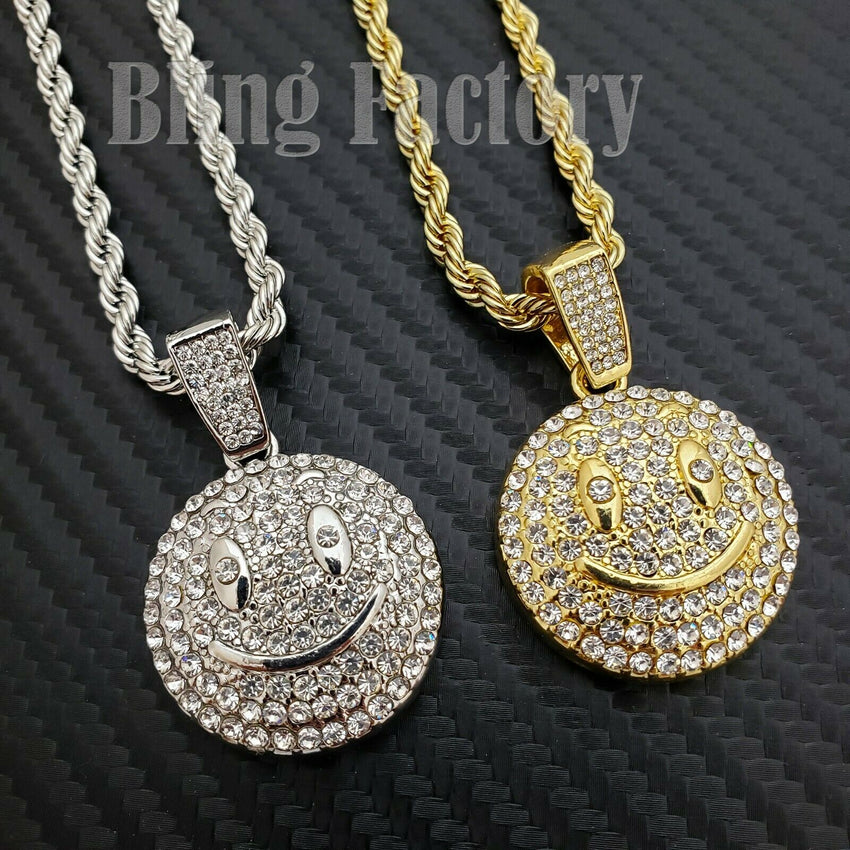 "Hip Hop Iced Emoji Smile Face Charm Pendant & 4mm 24"" Rope Chain Necklace"