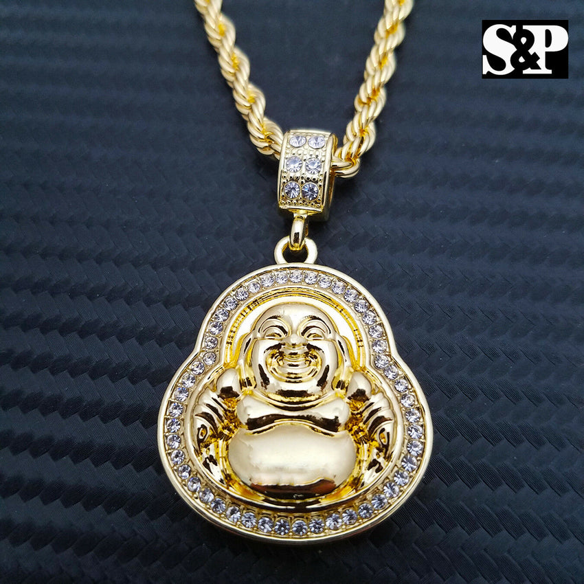 "Unisex Lab Diamonds Lucky Happy Buddha Pendant & 4mm 24"" Rope Chain Necklace"