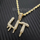 "Hip Hop Iced out Lab Diamond LIT Drip Pendant & 4mm 24"" Rope Chain Necklace"