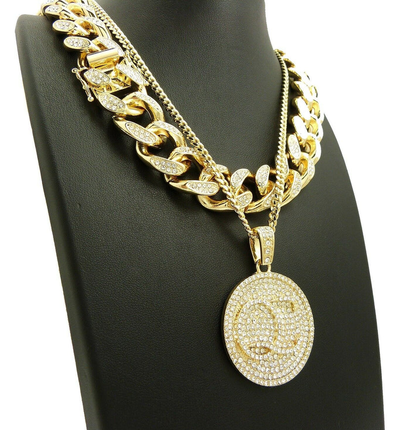 "Hip Hop Iced QC Quality Control & 18"" Full Iced Cuban Choker Chain Necklace Set"