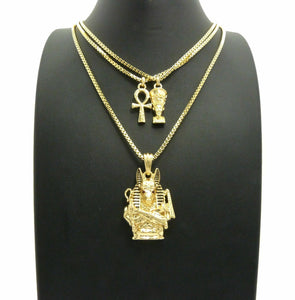 Egyptian Mini Nefertiti, Ankh, Anubis Pendant & 20