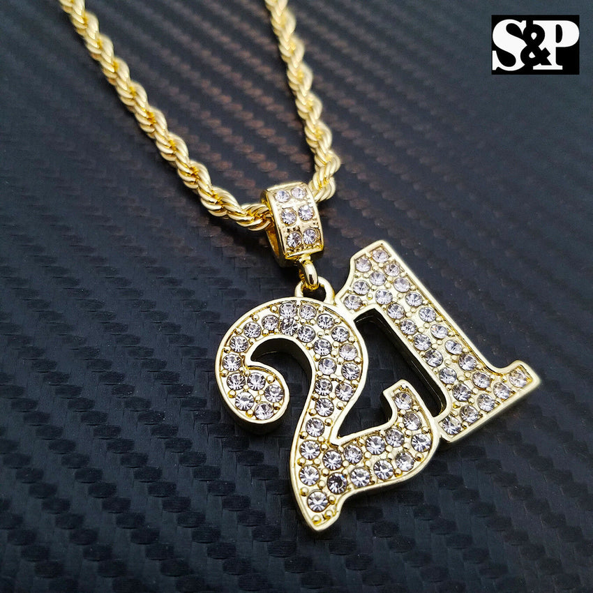 "Iced Out Gold PT Hip Hop Savage 21 Pendant & 4mm 24"" Rope Chain Hip Hop Necklace"