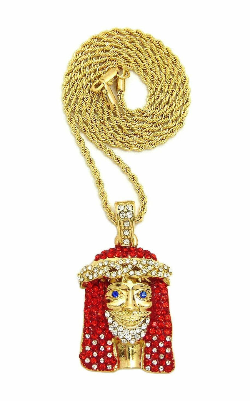 "ICED OUT Lil Yachty RED JESUS FACE SMALL PENDANT & 24"" CHAIN HIP HOP NECKLACE"