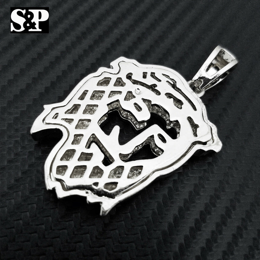 HIP HOP ICED OUT RAPPER STYLE LAB DIAMOND SILVER PLATED 3D JESUS FACE PENDANT