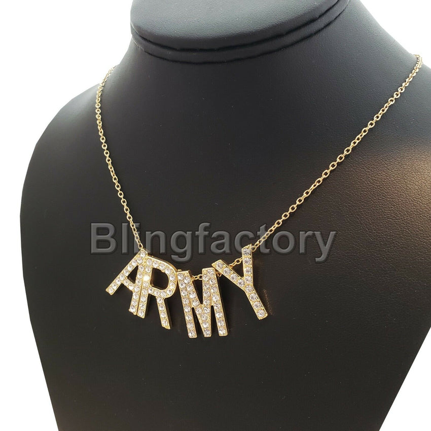 "Iced out Initial Letters Celebrity BTS ARMY Pendant & 2mm 18"" Chain Necklace"