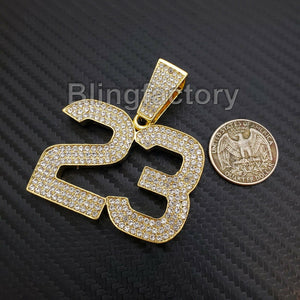 HIP HOP ICED OUT 14K GOLD PLATED BLING LAB DIAMOND LARGE NUMBER 23 CHARM PENDANT