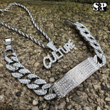 HIP HOP BLING CULTURE LAB DIAMOND NECKLACE & ICED MIAMI CUBAN BRACELET SET