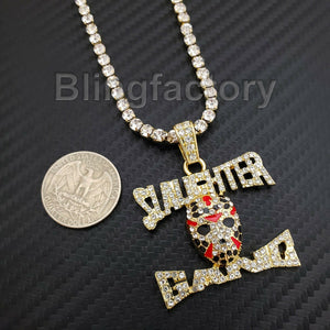 Hip Hop Slaughter Gang Pendant & 1 Row Diamond Tennis Choker Chain Necklace