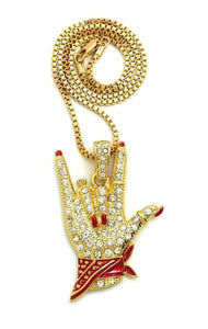 Women's Cardi B I Love You Hand Sign Pendant & 24