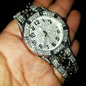 Men's Silver PT Iced out Luxury Migos Rapper's Metal Band Dress Clubbing Watch