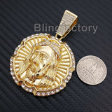 HIP HOP ICED OUT LAB DIAMOND GOLD PLATED LARGE JESUS FACE PENDANT