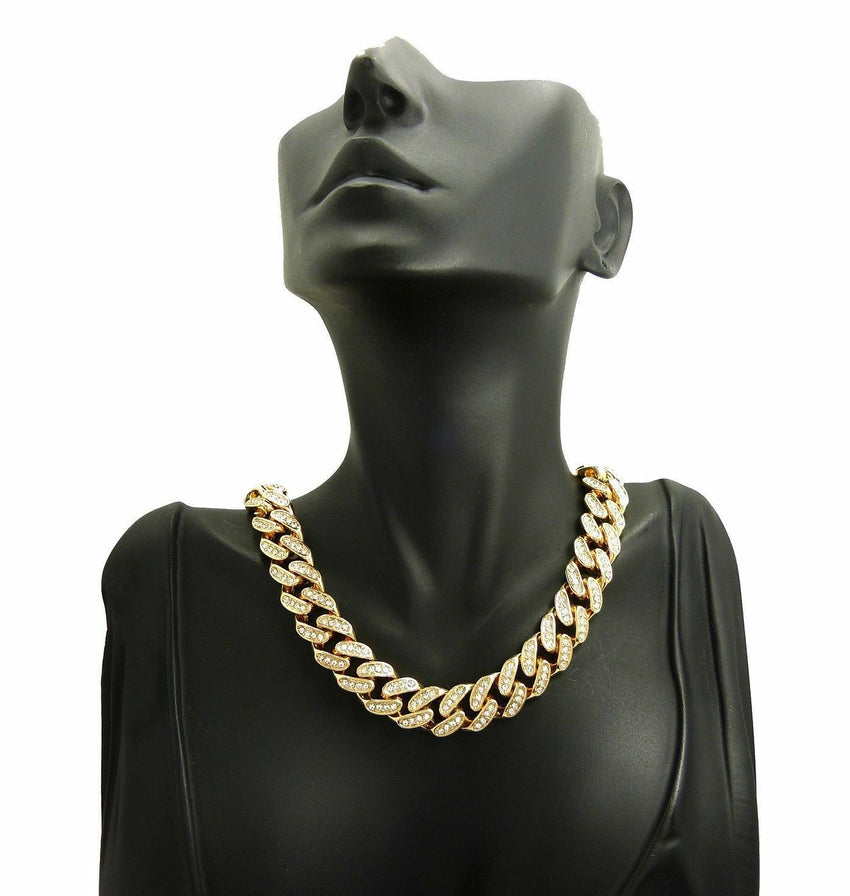 "Cardi B I Love You Hand Sign Necklace & 18"" Iced Cuban Choker Chain Necklace"