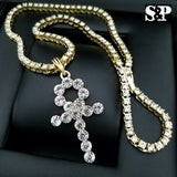 Hip Hop Iced Out Lab Diamond Watch & Ankh pendant 1 Row Tennis Chain Combo Set