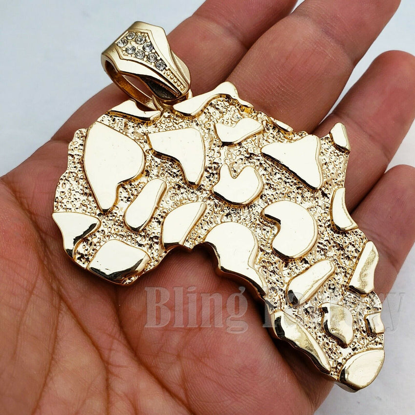 HIP HOP GOLD PLATED GOLDEN NUGGET LARGE AFRICA MAP CHARM PENDANT