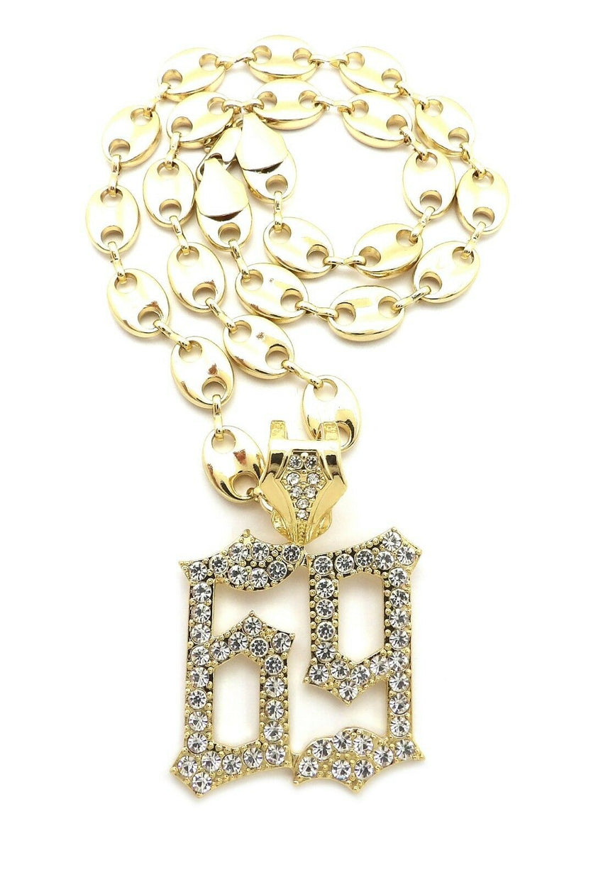 "Hip Hop Iced out Tekashi69 69 pendant & 10mm 18"" Gucci Choker Chain Necklace"