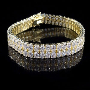 Hip Hop Iced out Premium Quality 2 Row Lab Diamonds Brass Bracelet