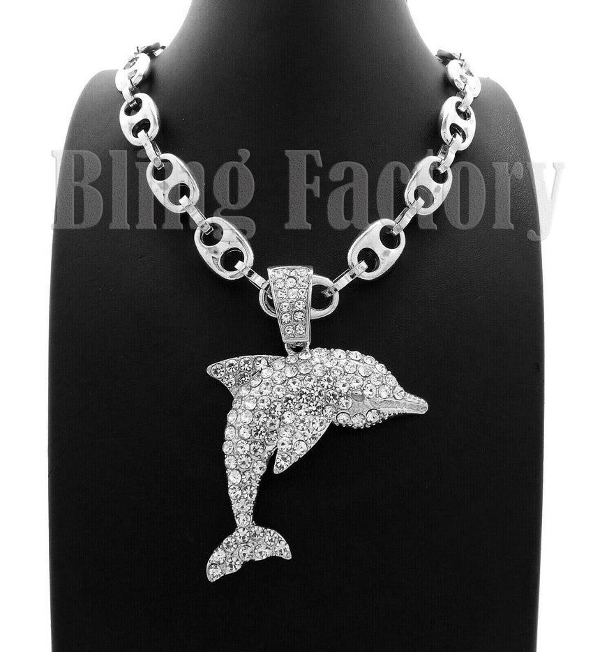 "Iced out Hip Hop YOUNG DOLPH Dolphin Pendant & 20"" 24"" 30"" Marina Chain Necklace"