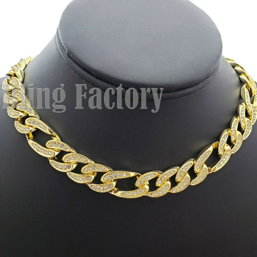 "Hip Hop Rapper's Iced Out Bracelet, 16"",18"", 20"" Figaro Chain Choker Necklace"
