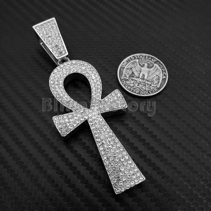 HIP HOP ICED OUT BLING LAB DIAMOND WHITE GOLD PLATED LARGE ANKH CROSS PENDANT